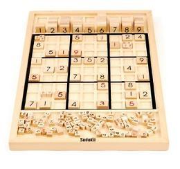 wooden sudoku puzzle board